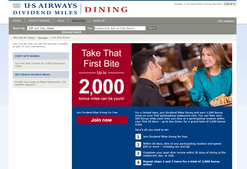 dividend miles dining 2000 bonus