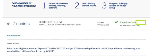 Home Depot double Amex rewards 3-8-2015