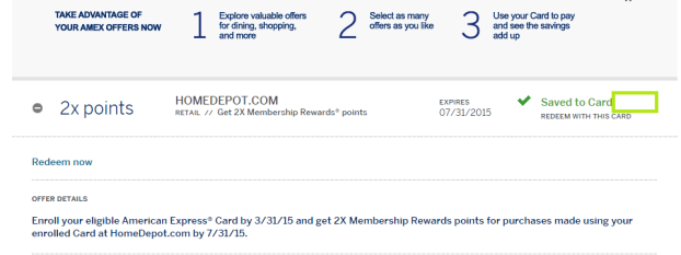Home Depot double Amex rewards 3-8-2015