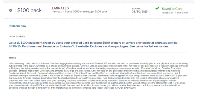 amex offers emirates 100