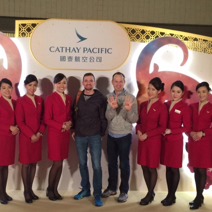 Posing with the ladies of Cathay Pacific